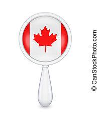 loupe, com, canadense, flag.