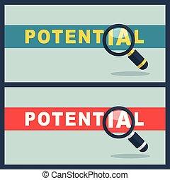 loupe, concept, mot, potentiel