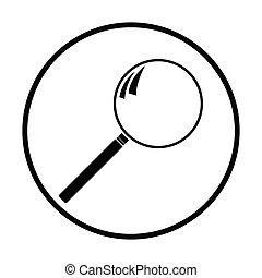 Loupe icon. Thin circle design. Vector illustration.