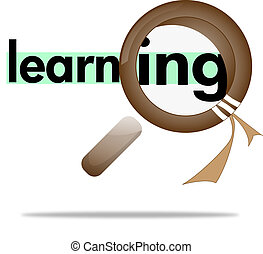 loupe, magnifying glass on learing