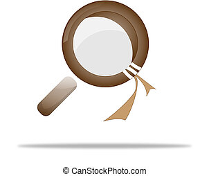 loupe, magnifying glass on white - magnifying glass in dark...