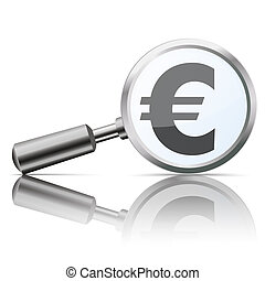 Loupe with euro symbol on the white background.