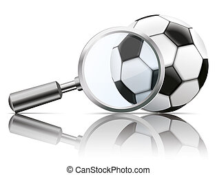 Loupe Mirror Football - Loupe with football on the white...
