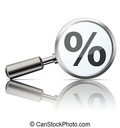 Loupe with percent on the white background.