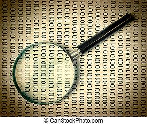loupe, sur, a, code binaire