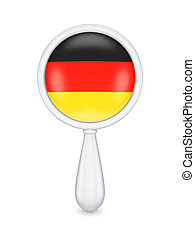 Loupe with german flag.