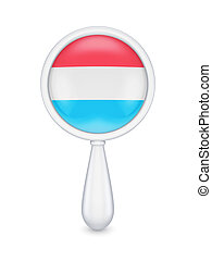 Loupe with luxembourgian flag. Isolated on white background....