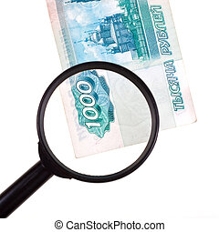 loupe zooms banknote
