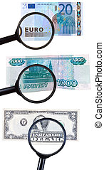 loupe zooms banknote - magnifying loupe zoom banknote...