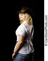 loura, cowgirl, -, tiro estúdio