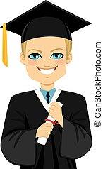 loura, graduação, menino