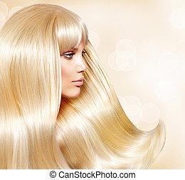 loura, hair., moda, menina, com, saudável, longo, liso, cabelo