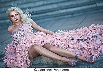 loura, luxo, mulher bonita