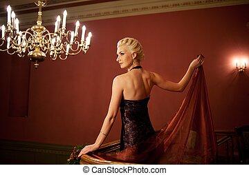 loura, noite, dress., mulher