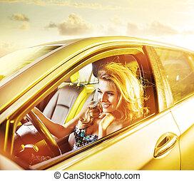 loura, retrato, mulher, limusine, dirigindo