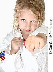 loura, seis, ano velho, menina, fazendo, artes marciais
