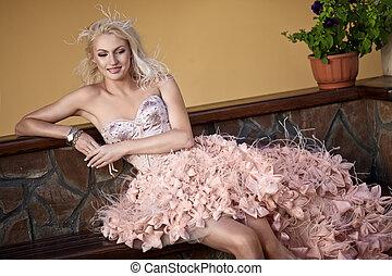 loura, vestido casamento, mulher, bonito, luxo