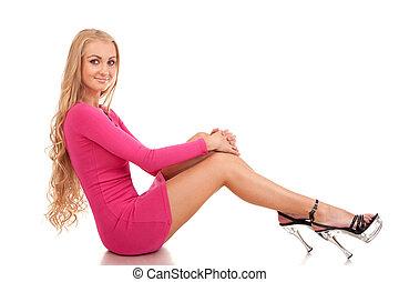 loura, vestido cor-de-rosa, mulher, bonito