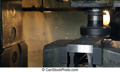 lourd, émoulage, machinery., surface, horizontal, moulin
