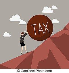 lourd, affaires femme, pousser, impôt, montant