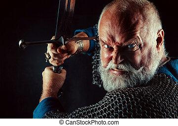 lourd, armure, chevalier, puissant, sombre, arrière-plan., attaque