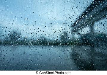 lourd, autour de, conduite, voiture, pluie, vehicles., surtout, fenêtre.