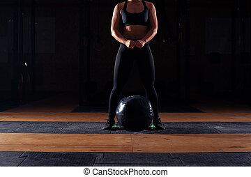 lourd, balle, fonctionnement, musculaire, girl, dehors