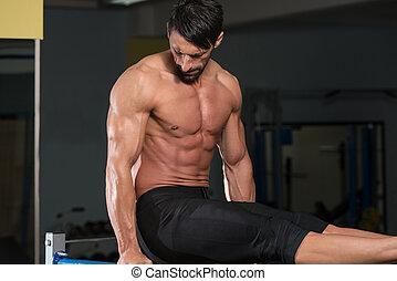 lourd, barres, poids, athlète, parallèle, exercice