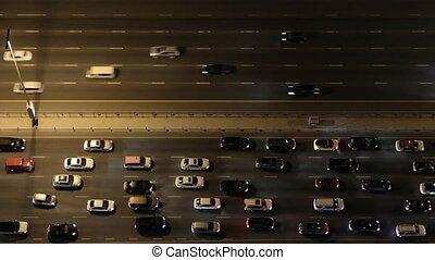 lourd, bas, aérien, sommet, autoroute, trafic, night., vue