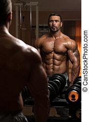 lourd, biceps, culturiste, poids, exercice