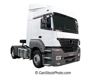 lourd, blanc, camion