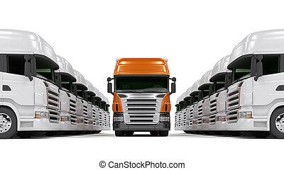 lourd, blanc, isolé, camions, rouges