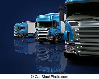 lourd, bleu, présentation, camions