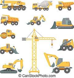 lourd, bulldozer, machines., excavateur, technique., autre, vecteur, illustrations, construction, style, dessin animé