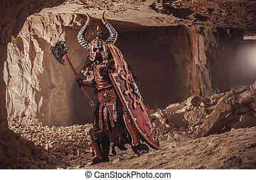 lourd, cachot, armure, chevalier, puissant, attaque, fond