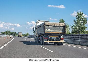 lourd, camion, industrie, autoroute, décharge