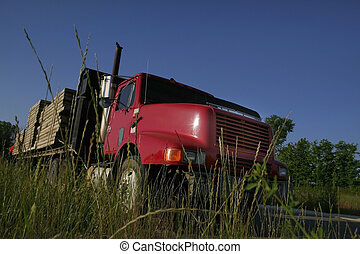 lourd, camion, rouges