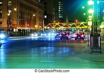 lourd, chicago, usa, trafic, nuit, autoroute