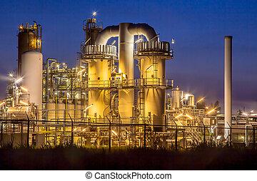 lourd, chimique, industriel, usine, nuit