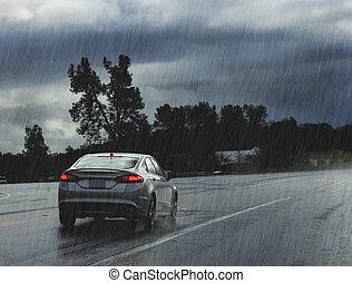 lourd, conduite, pluie