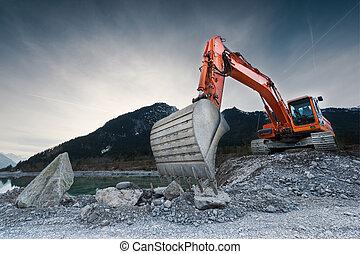 lourd, debout, pelle, excavateur, organge, rochers, colline