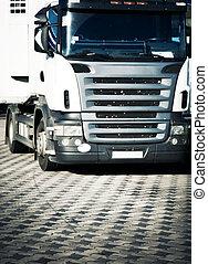 lourd, devant, camion, vue