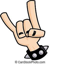 lourd, diable, métal, main, cornes, signe