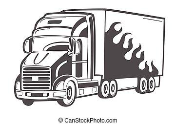 lourd, emblème, isolé, vecteur, camion, white.