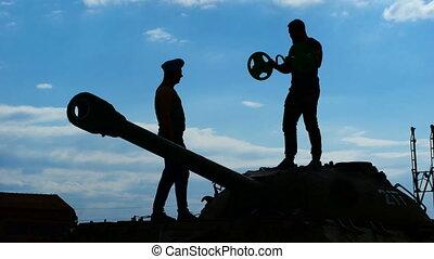 lourd, exercise., exécuter, soldat, officier, marques