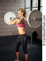 lourd, femme, levage, poids, fitness