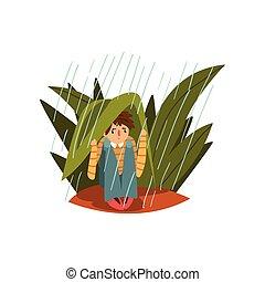 lourd, garçon, illustration, vecteur, pluie, fond, grand, blanc, herbe, dissimulation