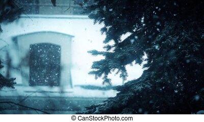 lourd, hiver, lent, coup, arbre, chute neige, mouvement, super, noël
