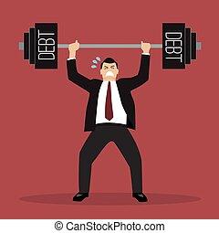lourd, homme affaires, dette, levage, poids