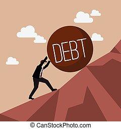 lourd, homme affaires, pousser, dette, montant
